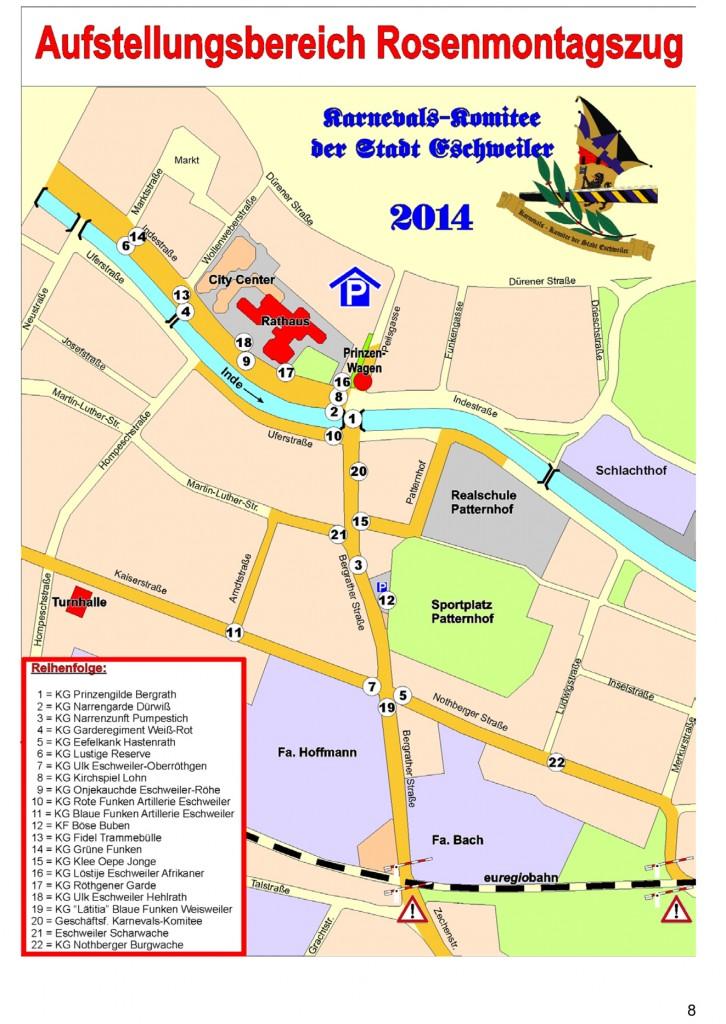 Aufstellungprogramm Rosenmontagszuges 2014 Eschweiler
