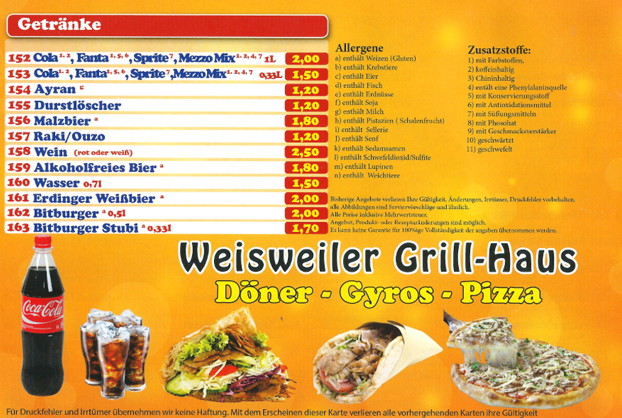 Grillhaus Weisweiler speisekarte
